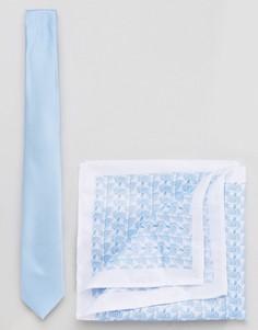 Галстук и платок для нагрудного кармана Burton Menswear - Синий