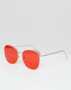 Круглые металлические солнцезащитные очки с красными затемненными стеклами AJ Morgan - Красный