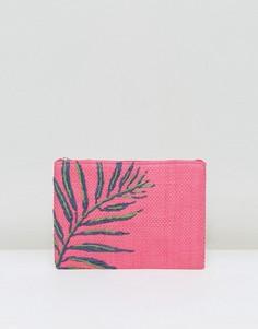 Розовый соломенный клатч с вышивкой пальм South Beach - Розовый