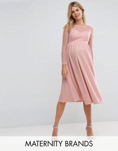 Платье миди с отделкой искусственным жемчугом Little Mistress Maternity - Розовый