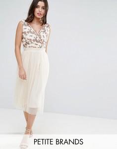 Тюлевое платье миди с вышивкой Little Mistress Petite - Бежевый