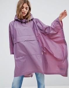 Прозрачный полиуретановый дождевик-пончо с карманом Hunter - Фиолетовый