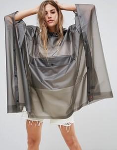 Прозрачный полиуретановый дождевик-пончо с карманом Hunter - Серый