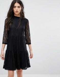 Платье с кружевной отделкой рукавов Vila - Черный
