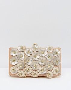 Клатч с цветочной 3D-отделкой Chi Chi London - Золотой