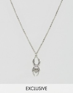 Ожерелье с подвеской в форме паука Reclaimed Vintage Inspired - Серебряный