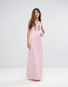 Платье макси с вышивкой Y.A.S Studio - Розовый
