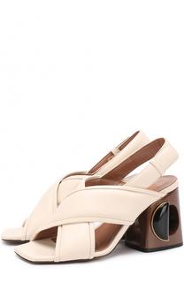 Кожаные босоножки на геометричном каблуке Marni