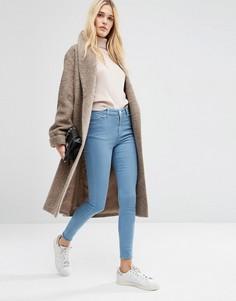 Трикотажное оversize-пальто из шерстяной смеси с шалевым воротником ASOS - Кремовый
