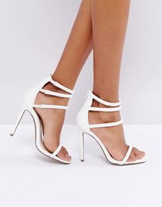 Белые босоножки на каблуке с четырьмя ремешками Missguided - Белый