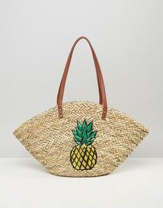 Плетеная пляжная сумка с ананасом Chateau - Бежевый