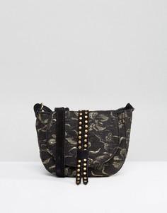 Жаккардовая миниатюрная сумка-седло с заклепками и замшевым ремешком Park Lane - Черный