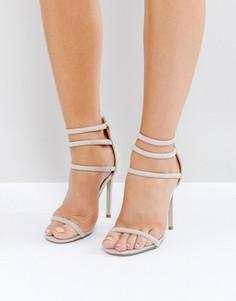 Серые босоножки на каблуке с четырьмя ремешками Missguided Barely There - Серый