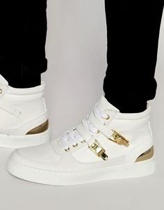 Белые кроссовки средней высоты с золотистой отделкой ASOS - Белый