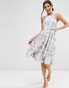 Платье миди с цветочным принтом и укороченным топом ASOS - Мульти