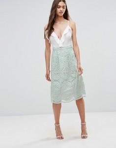 Короткая расклешенная юбка из кружевной ткани Darling - Зеленый