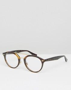 Круглые очки в черепаховой оправе Ray-Ban 0RX7110 - Коричневый