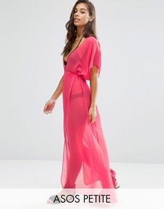 Шифоновая пляжная туника макси с завязывающимся поясом ASOS PETITE - Розовый