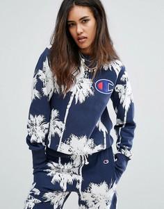 Oversize-свитшот c гавайским пальмовым принтом Champion - Темно-синий