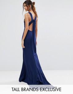 Платье макси с бантом сзади Jarlo Tall - Темно-синий