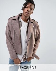 Коричневая байкерская куртка из искусственной замши Mennace - Коричневый