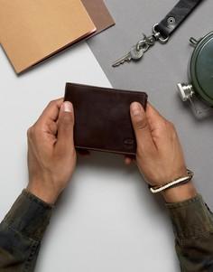 Коричневый кожаный бумажник с карманом для монет Timberland - Коричневый