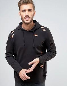 Черное худи с рваной отделкой New Look - Черный