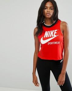 Укороченная майка в рубчик Nike - Красный