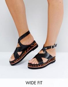 Черные сандалии для широкой стопы на платформе с леопардовым принтом Lost Ink - Черный