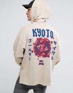 Oversize-худи с японским принтом ASOS - Бежевый