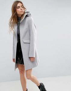 Узкое пальто с капюшоном и молнией ASOS - Серый