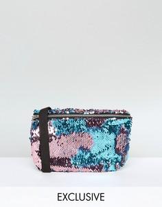 Розовая с бирюзовым сумка-кошелек на пояс Reclaimed Vintage - Розовый