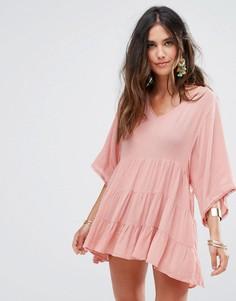 Пляжная накидка с вышивкой Anmol - Розовый