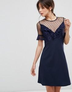 Платье мини с кружевом и расклешенными рукавами Elise Ryan - Темно-синий