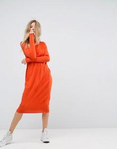Платье миди с круглым вырезом горловины ASOS - Оранжевый