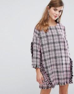 Свободное твидовое платье с оборками Sister Jane - Черный