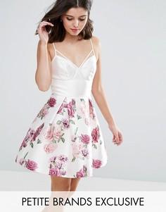 Платье мини с топом-корсетом и цветочным принтом Chi Chi Petite - Мульти