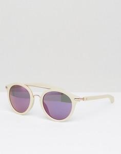 Круглые солнцезащитные очки с планкой над переносицей Calvin Klein Jeans - Белый