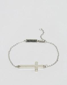 Серебристый браслет-цепочка с крестом Icon Brand - Серебряный