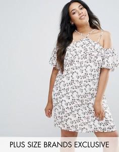Платье с открытыми плечами и цветочным принтом Missguided Plus - Мульти
