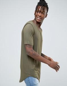 Длинная драпированная футболка Avior - Зеленый