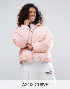 Короткая дутая куртка ASOS CURVE - Розовый