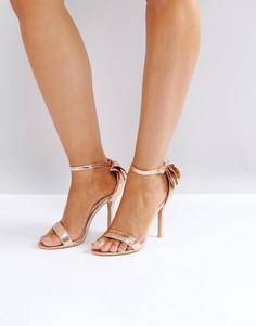 Босоножки на каблуке цвета розового золота с бантами Glamorous - Золотой