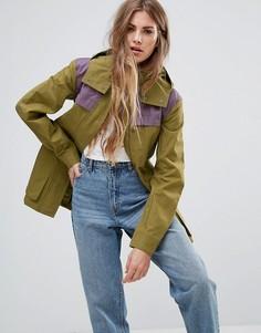 Куртка в стиле милитари с контрастной отлетной кокеткой Hunter - Бежевый