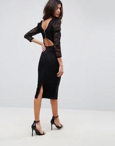 Кружевное платье миди с пышными рукавами и вырезом на спине ASOS - Черный