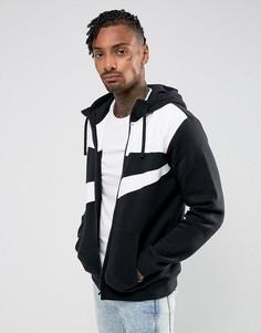 Худи черного цвета на молнии с логотипом-галочкой Nike 861712-010 - Черный