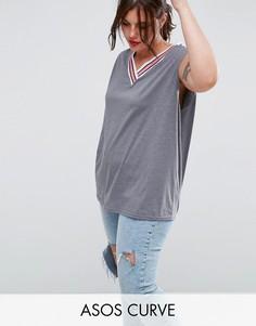 Майка с контрастной отделкой в спортивном стиле ASOS CURVE - Серый