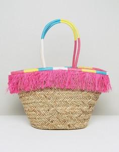 Соломенная сумка с бахромой и обернутыми ручками South Beach - Мульти