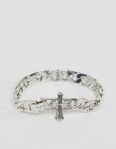 Серебристый массивный браслет-цепочка с крестом Rebel Heritage - Серебряный