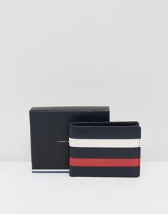 Кожаный кошелек с полосками Tommy Hilfiger - Темно-синий